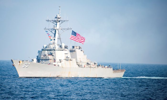The Arleigh Burke-class guided-missile destroyer USS Stethem transits waters east of the Korean peninsula during a photo exercise including the United States Navy and the Republic of Korea Navy during Operation Foal Eagle on March 22, 2017. (U.S. Navy/Mass Communication Specialist 3rd Class Kurtis A. Hatcher/Handout via Reuters)