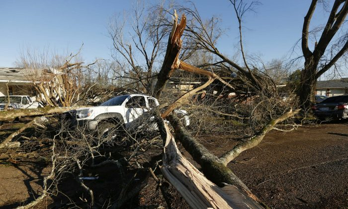 Tornado strewn debris and fallen trees in this Columbus, Miss., neighborhood, Sunday morning, Feb. 24, 2019 (Rogelio V. Solis/AP Photo)