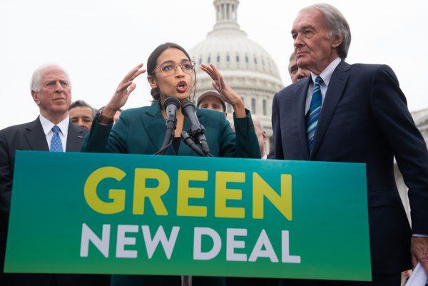 Alexandra Ocasio-Cortez speaks about the Green New Deal