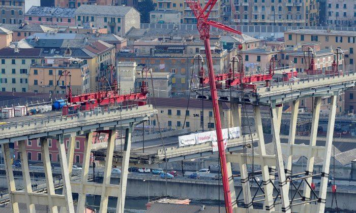 The collapsed Morandi Bridge in Genoa, Italy, on Feb. 9, 2019. (Massimo Pinca/File Photo/Reuters)