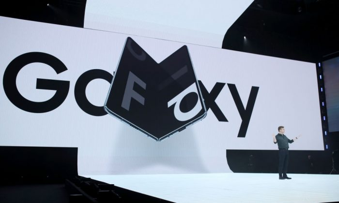 Samsung senior vice president of product marketing Justin Denison announces the new Samsung Galaxy Fold smartphone during the Samsung Unpacked event in San Francisco on Feb. 20, 2019. (Justin Sullivan/Getty Images)