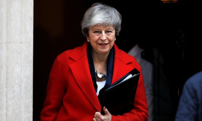 Britain's Prime Minister Theresa May outside Downing Street in London on Feb. 26, 2019. (Peter Nicholls/Reuters)