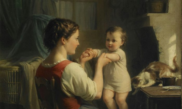 """Reading a beautiful passage can sometimes tickle our hearts, delighting us much like a mother who takes pleasure in her child. A detail from """"Mother and Child With Cat"""" by Fritz Zuber Buhler. (Public Domain)"""
