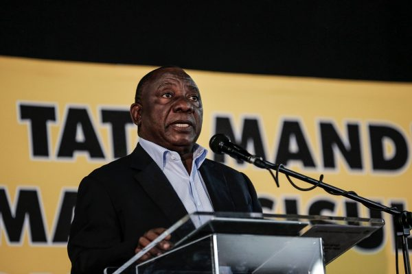African National Congress (ANC) leader Cyril Ramaphosa addresses a meeting of the ruling ANC party on its land expropriation policy in Johannesburg on May 19, 2018. (Gulshan Khan/AFP/Getty Images)