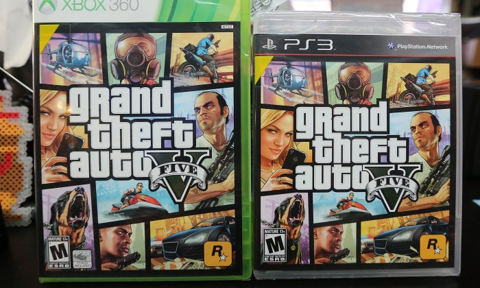 "Copies of ""Grand Theft Auto V"" are displayed in a Manhattan store, on Sept. 18, 2013. (Mario Tama/Getty Images)"