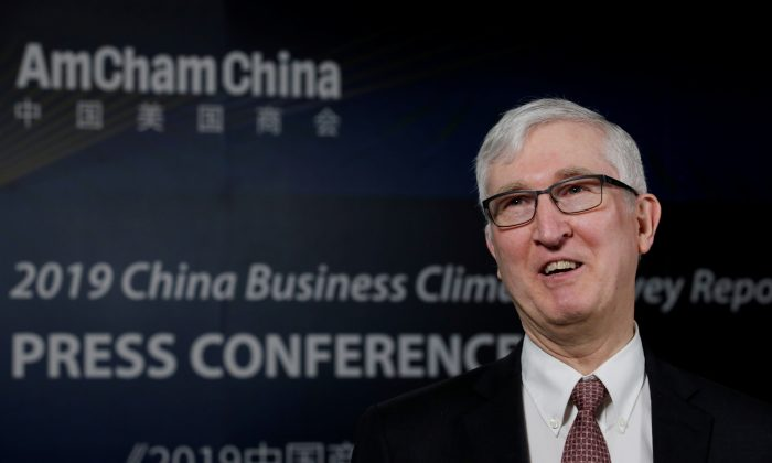 Chairman of the American Chamber of Commerce in China (AmCham China) Tim Stratford speaks during an interview before a news conference on China business climate survey report in Beijing on Feb. 26, 2019. (Jason Lee/Reuters)