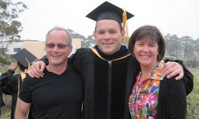 Shane Todd with his parents Rich Todd (L) and Mary Todd (R) on his being awarded a doctorate in mechanical engineering. (Courtesy the Todd family)