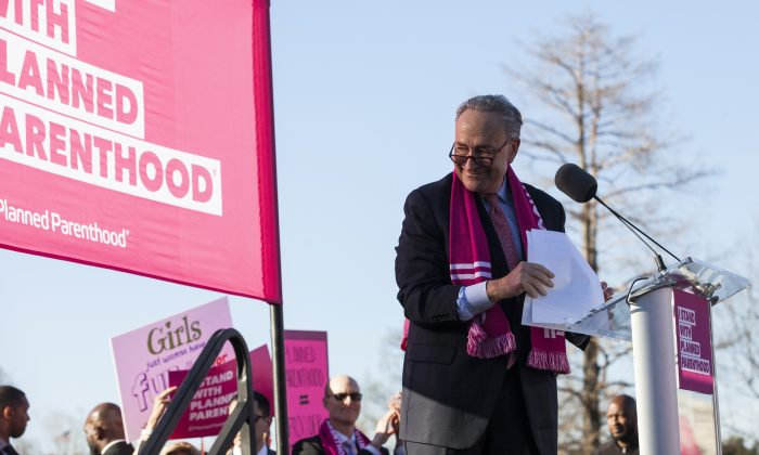 Senate Minority Leader Chuck Schumer speaks during a rally opposing attempts to defund Planned Parenthood on Capitol Hill on March 29, 2017. (Zach Gibson/Getty Images)
