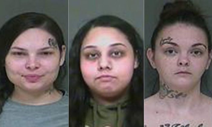 """Police booking photos showing (L-R) Amber Dunlap, Toni Huizar, and Tiphanie Sager, who were arrested in Indiana after allegedly taunting cops to """"do ya job [expletive]"""" on Instagram.(Indiana State Police)"""