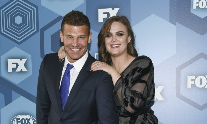 David Boreanaz and Emily Deschanel attend the FOX Networks 2016 Upfront Presentation Party in New York, on May 16, 2016. (Evan Agostini/Invision/AP)