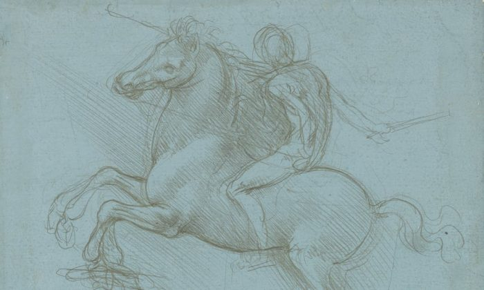 Leonardo da Vinci hoped his greatest achievement would be a huge equestrian monument. A design for the monument, circa 1485-8. Metalpoint on blue prepared paper. (Royal Collection Trust / (c) Her Majesty Queen Elizabeth II 2018)