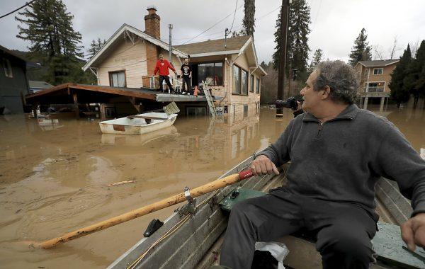 California rain-swollen river 1