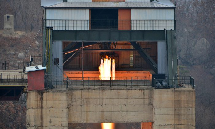This undated picture released by North Korea's official Korean Central News Agency (KCNA) on March 19, 2017 shows the ground jet test of a newly developed high-thrust engine at the Sohae Satellite Launching Ground in North Korea. (STR/AFP/Getty Images)