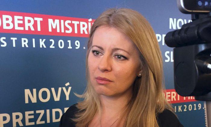Presidential candidate Zuzaba Caputova speaks at a news conference in Bratislava, Slovakia, on Feb. 26, 2019. (Reuters)