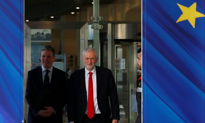 Britain's Labour Party leader Jeremy Corbyn and Shadow Secretary of State for Departing the European Union Keir Starmer at the EU Commission headquarters in Brussels on Feb. 21, 2019. (Francois Lenoir/Reuters)