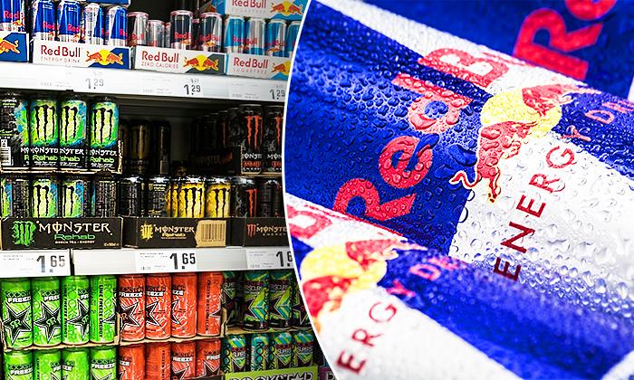 (L) Energy drinks; (R) Red Bull (Shutterstock)