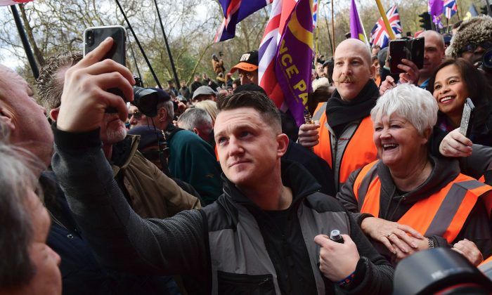 Tommy Robinson takes part in a rally in London on Dec. 9, 2018. (Chris J Ratcliffe/Getty Images)
