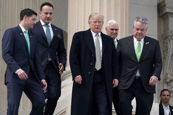 (L-R) U.S. Speaker of the House Rep. Paul Ryan (R-WI), Irish Taoiseach Leo Varadkar , President Donald Trump, U.S. Vice President Mike Pence, and U.S. Rep. Peter King (R-NY) walk down the House steps
