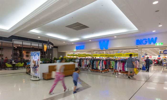 An undated photo of shoppers entering a Big W discount store at Westfield Garden City shopping centre in Brisbane, Australia. (Courtesy of the Scentre Group)