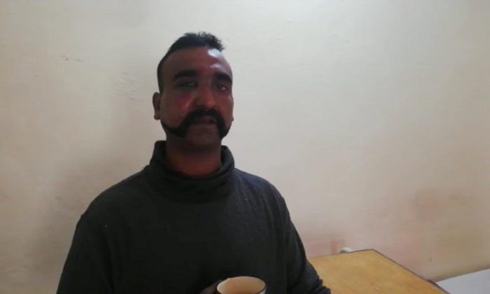 Indian pilot Wing Commander Abhi Nandan captured by Pakistan is seen in this handout photo released February 27, 2019. (Inter Service Public Relation (ISPR) Handout via Reuters)