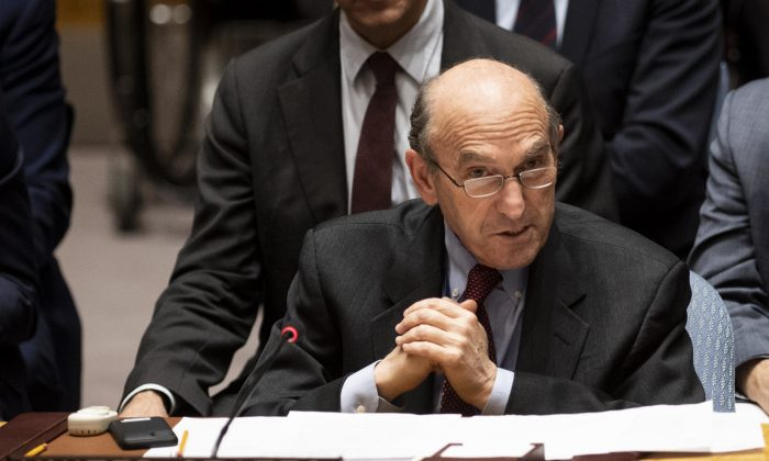 The US envoy on Venezuela Elliott Abrams speaks to the United Nations Security Council during a meeting to vote for a resolution on controlling the turmoil in Venezuela at the United Nations in New York, on Feb. 28, 2019 (Johannes Eisele/AFP/Getty Images)