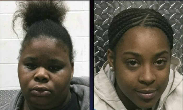 The two Missouri day care center workers face felony charges after surveillance video showing a 3-year-old girl being thrown against a cabinet went viral. St. Louis County prosecutors filed child abuse charges on Feb. 28, 2019, against the woman who allegedly threw the child into the cabinet, 27-year-old Brown. (North County Police Cooperative/St. Louis Post-Dispatch via AP)
