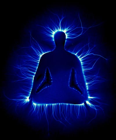 The aura of a person in meditation. Picture taken using the Kirlian method