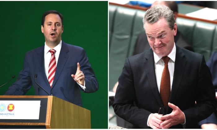 (L) Steve Ciobo speaks at a business conference in Sydney on March 16, 2018. (Peter Parks/AFP/Getty Images)  (R) Minister for Defence Industry Christopher Pyne  in Canberra, Australia on Oct. 25, 2017. Australia's Trade Minister