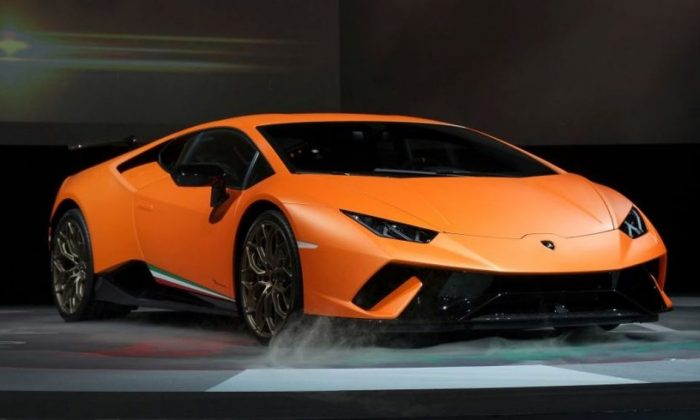 A new Lamborghini Huracan Performante by Italian luxury car maker Automobili Lamborghini is displayed at a press preview in Tokyo on June 8, 2017.  (Kazuhiro Nogi/AFP/Getty Images)