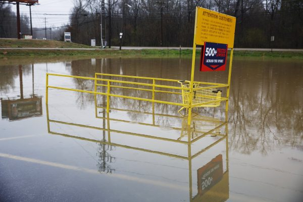 Middle Valley Plaza is seen flooded