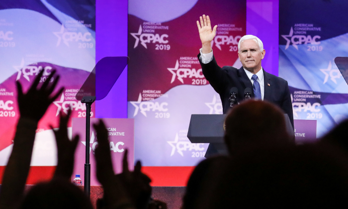Vice President Mike Pence at the CPAC convention in Washington, on March 1, 2019. (Samira Bouaou/The Epoch Times)