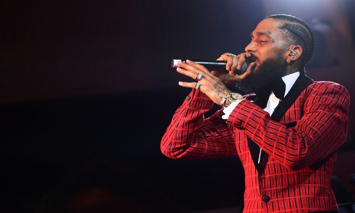 Nipsey Hussle performs onstage at the Warner Music Pre-Grammy Party at the NoMad Hotel in Los Angeles, Calif., on Feb. 7, 2019. (Matt Winkelmeyer/Getty Images for Warner Music)
