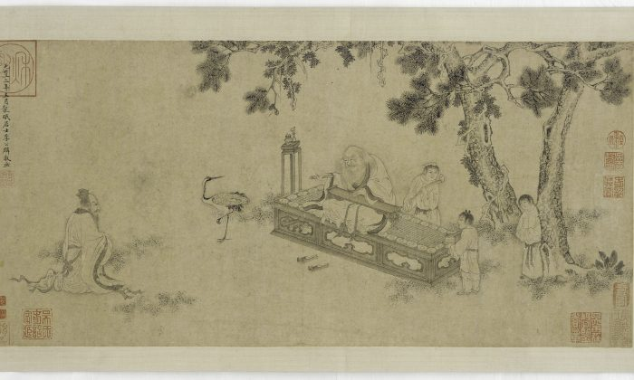 A Ming Dynasty handscroll, traditionally attributed to Li Gonglin, depicting the scene of ancient philosopher Laozi delivering the Tao De Jing, the primary text of Taoist thought that he authored. Freer Gallery of Art. (Public Domain)