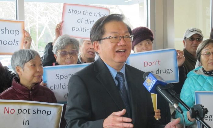 Frank Lee speaks at a marijuana press conference in Mountain View, Calif., on Feb. 28, 2019. (Cynthia Cai/The Epoch Times)