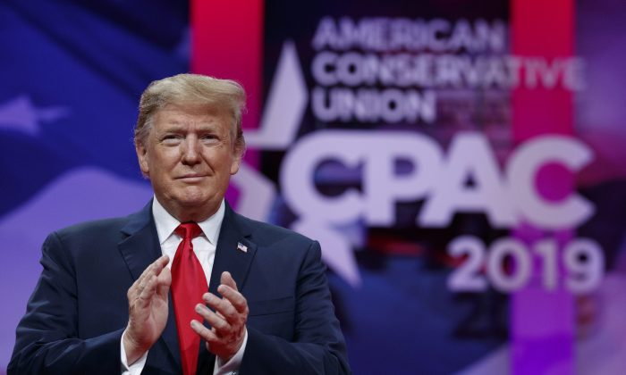 President Trump arrives to speak at Conservative Political Action Conference, CPAC 2019, in Oxon Hill, Md., on March 2, 2019. (Carolyn Kaster/AP Photo)