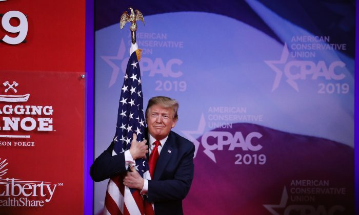 President Donald Trump speaks at the CPAC convention in Maryland on March 2, 2019. (Samira Bouaou/The Epoch Times)