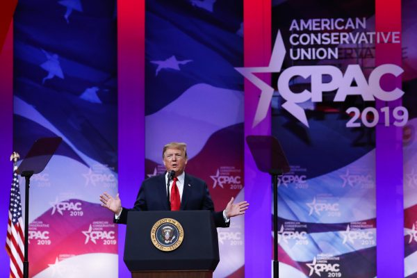 President Donald Trump speaks at the CPAC
