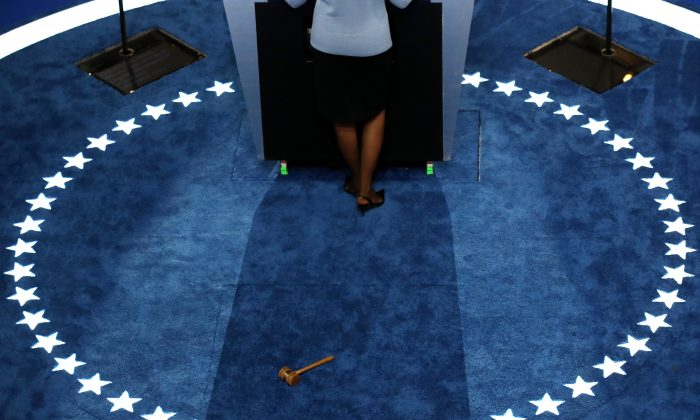 The gavel used to call to order lies on the ground after Baltimore Mayor Stephanie Rawlings-Blake opened the first day of the Democratic National Convention at the Wells Fargo Center, Jul. 25, 2016 in Philadelphia, Pa.