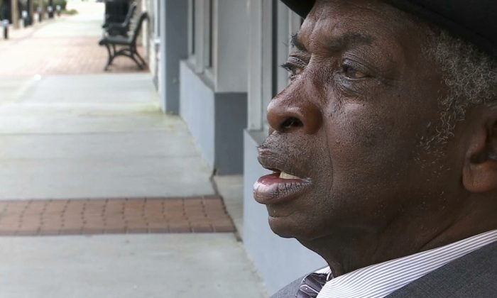In this image made from video, Glendell Robinson, a Bladen County resident, pauses in Bladen County, N.C. on Feb. 27, 2019.  (AP Photo/Sarah Blake Morgan)