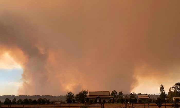 A supplied image obtained on March 2, 2019, shows smoke rising from the bushfire burning in Victoria's east, Australia. (AAP Image/Supplied by Steven Clarke/via REUTERS)