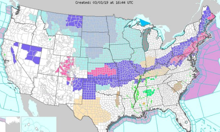 Across the Midwest and Plains, wind chill warnings, watches, and advisories were issued by the NWS, on March 3, 2019. (National Weather Service)