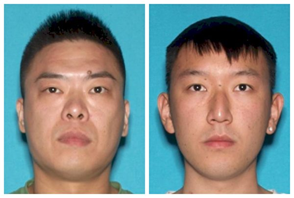 Peicheng Shen, left, and Guangyao Yang, right, are seen in photos released by the FBI. (Screenshot/FBI)