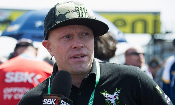 Keith Flint speak at the 2013 Superbikes FIM World Championship at Donington Park, England on May 26, 2013.  (Mirco Lazzari gp/Getty Images)
