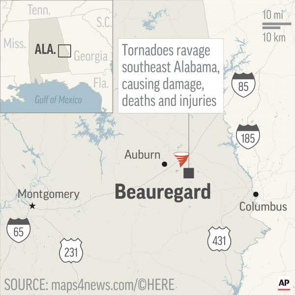 Map locates Beauregard, Alabama, where tornadoes killed people and caused injuries and damage;