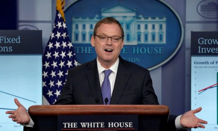 Trump economic adviser Kevin Hassett gestures as he speaks during a news briefing at the White House in Washington, DC on Sept. 10, 2018. (Kevin Lamarque/Reuters)