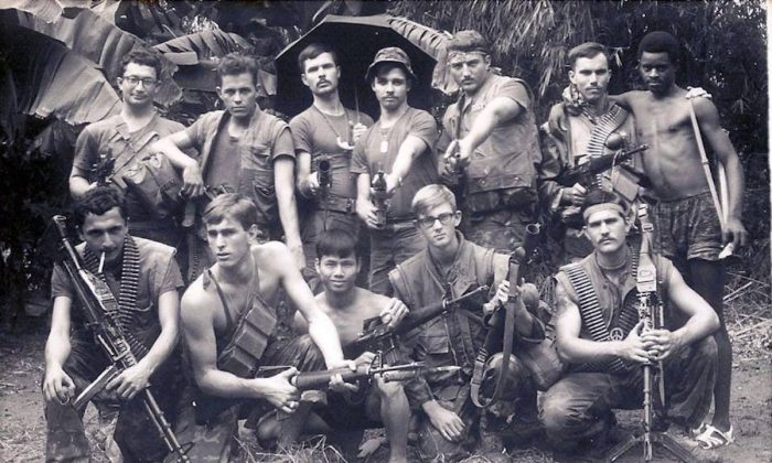 Jack Cunningham (2nd R, back) with a Combined Action Program unit about five miles west of Dai Loc, Vietnam, on Nov. 5, 1970. (Courtesy of Jack Cunningham)