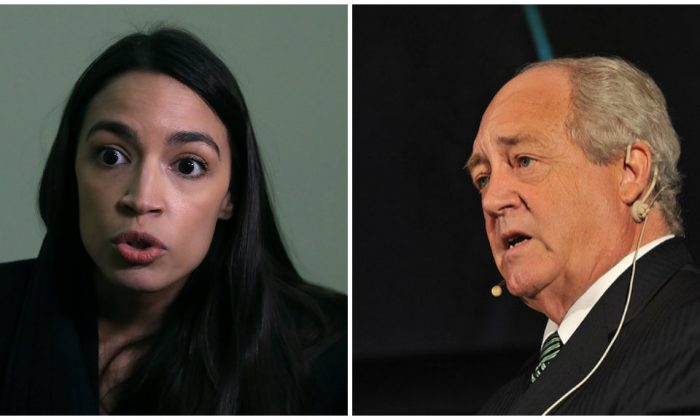 Alexandria Ocasio-Cortez (L). Greenpeace co-founder Patrick Moore criticized Rep. Alexandria Ocasio-Cortez in a series of social media posts. (Mark Wilson/Getty Images and Friends of Europe/Wikipedia Commons CC BY 2.0)