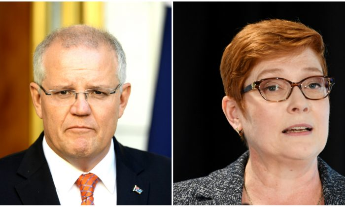 (L) Prime Minister Scott Morrison at Parliament House in Canberra, Australia on Feb. 13, 2019. (R) Foreign Minister Marise Payne in Sydney, Australia on Feb. 1, 2019. (Tracey Nearmy/Getty Images)