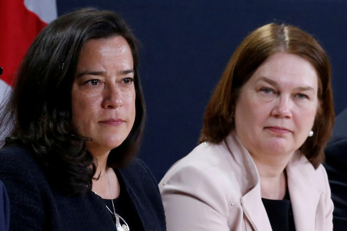 In this file photo from April 13, 2017, Canada's Justice Minister Jody Wilson-Raybould and Health Minister Jane Philpott attend a news conference in Ottawa, Canada. Wilson-Raybould and Philpotss have both resigned from Trudeau's Cabinet over the government's handling of the SNC-Lavalin affair. (Reuters/Chris Wattie)