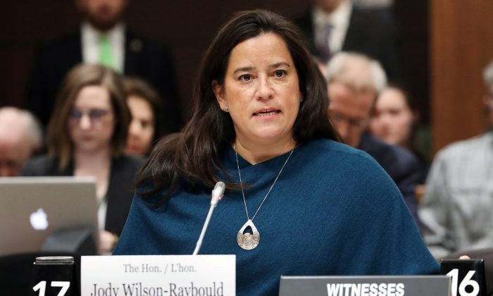 Liberal MP and former Canadian justice minister Jody Wilson-Raybould testifies before the House of Commons justice committee on Parliament Hill in Ottawa, Canada on Feb. 27, 2019. (Reuters/Chris Wattie)